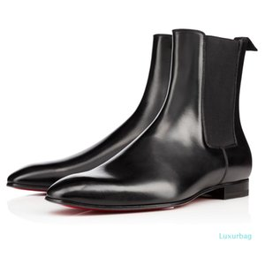 Fashion Elegant Business Designer Mens Black Leather Knight boots High Top Red Bottom Boots,Brand Flat Ankle Boots Casual Shoes L03