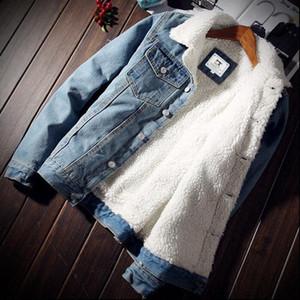 NIBESSER para hombre de moda cálida lana de mezclilla gruesa chaquetas para hombre de la chaqueta de Jean Outwear masculino vaquero chamarras chaquetas para hombre