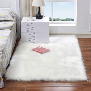 İmitasyon yün paspası 50 * 50 cm 60 * 90 cm kaymaz kabarık yapay yün yumuşak halılar oturma odası yatak odası için