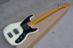 Fabrika Özel Süt Beyaz 4 Strings Siyah Pickguard ile Elektrik Bas Gitar, Krom Donanım, Sarı Boyun, Teklif Özelleştirilmiş