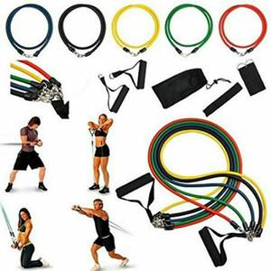 11 PCS Direnç egzersiz bandı Seti Yoga Pilates Abs Spor Tüp Egzersiz Bantları