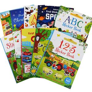 tamanho A4 dos desenhos animados Crianças Sticker livros Crianças Inglês Livro da história com adesivos pré-escolar de aprendizagem para Kindergarten presente 200925