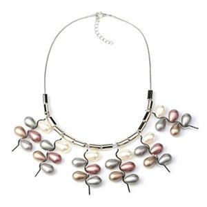 Sautoir Alliage Simulé Collier Déclaration Déclaration Imiter Perles Perles Pour La Décoration De Noce goutte forme de chaîne Collier Collier