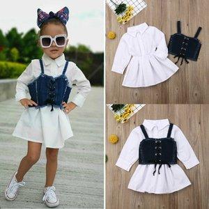 Shirt bambini principessa Dress + Belt Neonata appena nata manica lunga Sling Denim Abiti Moda Primavera Autunno vestiti della ragazza Set 1-6Y
