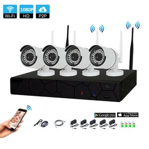 نظام كاميرا نظام الأمن 4CH الرئيسية لاسلكي CCTV 1080P NVR 4PCS 2.0MP IR في الهواء الطلق P2P واي فاي IP CCTV مراقبة الأمن كيت