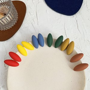 New Fashion Morandi Color Earrings Acetic Acid Acrylic Simple Fresh Female Earrings Oval Frosted Rubber Ear Clips 1Pair