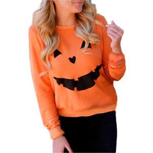 Femmes Halloween Citrouille Imprimer À Manches Longues Sweat Pull Tops Shirt Femme Casual Hoodies Survêtement Tops