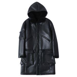 Seveyfan Мужская Real Shearling кожаная куртка с капюшоном Длинные Подлинная кожа овчины Ветровка пальто для мужчин R3169
