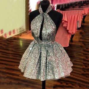 Günstige Sparkling Mini Prom Ballkleider Kleid Pailletten Womens Puffy Kurze Kleider Silber Gold Benutzerdefinierte Farbe Open Back Party Kleid Sexy
