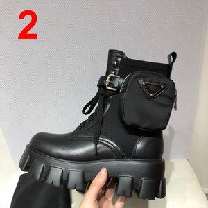 Дизайнер женский монолит мотоцикл ботинки роскошные черные колен - высокие ботинки платформы высокое качество с коробкой размером 35-40