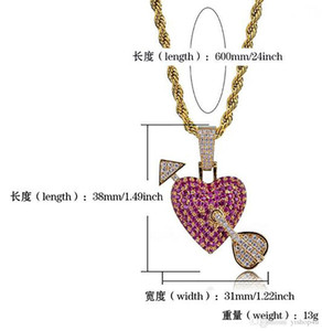 14K Gold Iced Out Cupid's Arrow Heart Pendant Necklace Cz Bling Pendant Mens Hip Hop Micro Pave Cubic Zirconia Valentine's Day couple gift