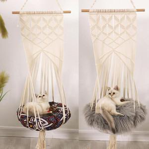 Cat Estilo Boho gaiola balanço Cama Handmade Cadeira de suspensão do sono Assentos Tassel CatsToy Cotton Rope Macrame Tassel animais domésticos Supplies