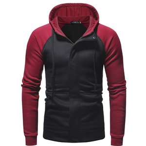 2019 foreign trade new winter dark placket Slim men's casual hooded zip cardigan sweater jacket