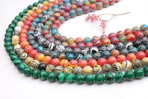 (Grado A) Piedra de gema de malaquita natural Granos sueltos Patrón de raya multicolor redondo B37727 Resultados de la joyería al por mayor 8mm sobre 50pcs