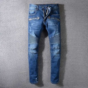Zipper Dicorative Distressed Ripped Skinny Jeans Fashion HiphOP Mens Designer Jeans Slim Motorcycle Moto Biker Causal Mens Denim Pants