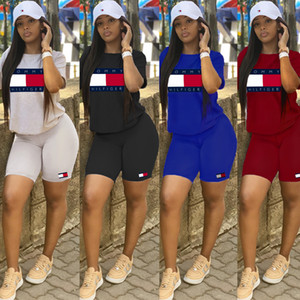 Tammy Frauen Designer Trainingsanzüge Brief Off Set Print Zweiteiler Set Sommer Kurzarm Top Shorts Anzüge Aprikose Rot Schwarz Blau