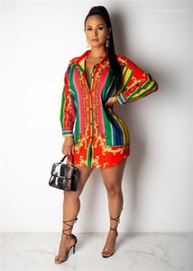 Hırka Yaka Yaka Uzun Kollu Gökkuşağı Bayan Bluzlar Kadın Giysileri Çizgili Womens yazdır Günlük Gömlek