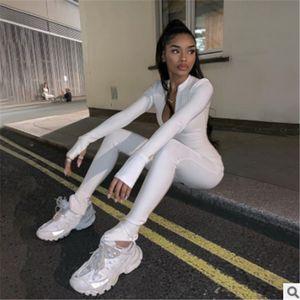 2020 Fashion Women Bodycon Youtsuits Manica Lunga Sport Tracksuit Zippers Casual Sport Sport Rumper Ladies Party Streebwear Tuta