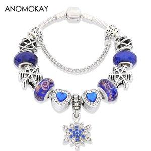 Anomokay Classic Dark Blue Snowflake Pendant Bead Bracelets Royal Blue Love Heart Crystal Charm Bracelet for Men Jewelry Gift