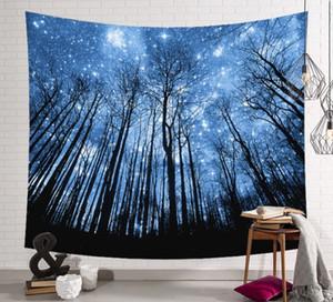Exportación caliente murales decorativos colgando de tela Nordic Rainforest Series Tapestry Stars cielo nocturno pintura de pared 203 * 150 cm