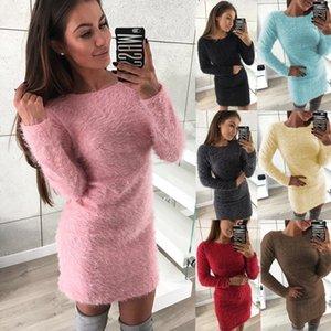 Maglione abito a maniche lunghe inverno caldo donne sexy di modo Cashmere aderente delle donne eleganti guaina Maglioni Mini abito Maglierie