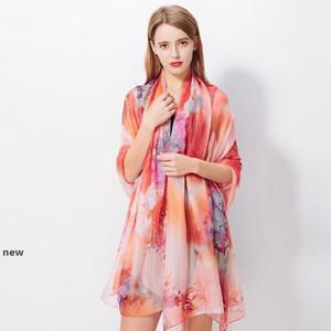 200*140cm Fashion Silk Scarves Shawl Women Chiffon Beach Towel Blanket Floral Print Summer Sunscreen Wraps Girl Riding Scarf GGA3376-3new
