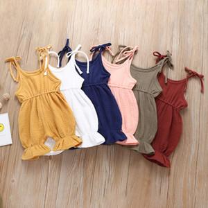 Детский Твердый слинг Rompers 6 Дизайн лето рукава хлопок Fold Lace комбинезон Дети Комбинезонов для девочек Наряды 0-4T