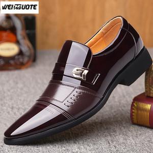 WEINUOTE Nouveau Design Hommes Angleterre Chaussures En Cuir Formelle Robe De Mariée Chaussures Oxford Mâle Décontracté Slip Sur Chaussures Pointu Bout