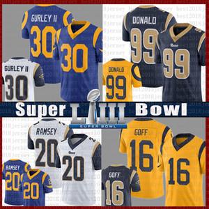 quente St.louis 16 Jared Goff 30 Todd Gurley II Ram Jersey 20 Jalen Ramsey 2019 Super Bowl LIII 99 Aaron Donald Jersey Azul marinho Cor do Rush