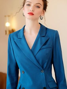 Peacock Blue Dress Suit Mulheres Estilo Negócios Work Wear Formal Escritório roupa das senhoras Abotoamento magros manga comprida Vestidos
