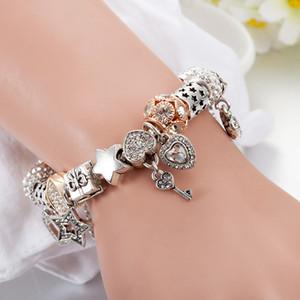 Atacado-encanto bracelete frisado para Banhado a Prata DIY Peach Coração pulseira pingente com presente do dia Caixa dos Namorados