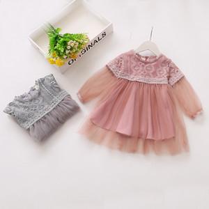 Primavera Queda da menina caçoa a roupa elegante Collar Vestido manga comprida em torno da malha Design Menina vestido Outwear Vestidos elegante