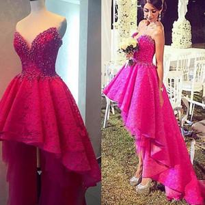 Pizzo Prom Dresses massimo minimo fucsia 2020 innamorato splendido Perle delle increspature in rilievo Backless di colore rosa caldo asimmetrico EveningGowns pageant 1524