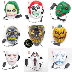 9 estilo Halloween Máscara Máscaras LED Light Up Partido Máscaras Purge do ano da eleição Grande engraçados Cosplay Festival Suprimentos Brilho In Dark