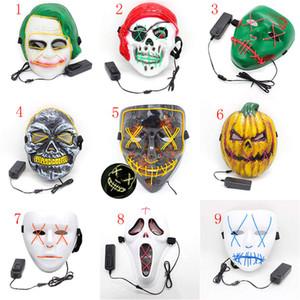9 tarzı Cadılar Bayramı Festivali Cosplay Kostüm Karanlıkta parlayan Malzemeleri Tahliye Seçim Yıl Büyük Komik maskeleri LED Işık Up Parti Maskeler Maske