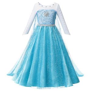 Roupa densa vestido fishnet Meninas Beadings Princesa Fancy Dress Birthday Party Girl Costume Snow Queen Halloween com longas CloakTrai forgift