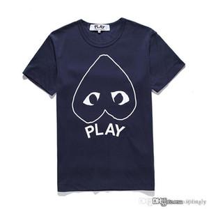 2017 Melhor DES G GARCONS CDG HOLIDAY Emoji Coração JOGAR T-shirt T-shirt marca de maré pêssego camiseta de algodão preto backwinding amantes do coração letras