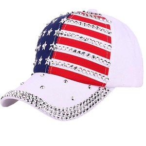 Boné de beisebol New Mulheres Moda faísca Rhinestone Casual Sun American Flag All Seasons Proteção Hat Casual