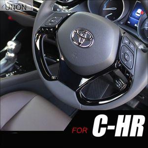 UNON For C-HR CHR 2017-2018 Black Car Steering Wheel Panel Garnish Cover Trim Solutions