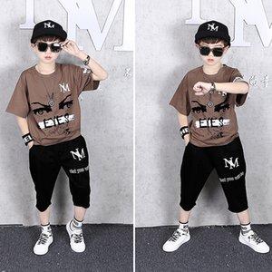 Çocuk Casual Suit İki adet Giyim Seti Kahve Baskılı 2020 Handsome Boy Tişört Yaz Spor Siyah Pantolon Kısa kollu