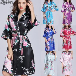 Fashion 2019 Women´s Floral Lace Up Satin Robe Kimono Dress Short Sleeve Gown Babydoll Wedding Party Bridesmaid Sleepwear New