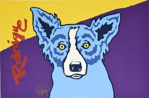 a090# George Rodrigue Blue Dog Museum Edition Home Decor Handpainted &HD Print Oil Painting On Canvas Wall Art Canvas Pictures 200112