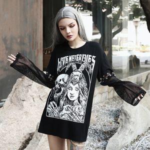 Modo punk T-shirt punk gotica Stampa Mesh Rivet Aesthetic T superiori Vintage Grunge Via Hollow scuro maglietta femminile