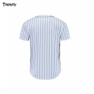 야구 유니폼 남성 블랙 화이트 스트라이프 저지 스트리트 힙합 T 셔츠 야구는 매일 스포츠 드롭 배송 크루 넥 탑