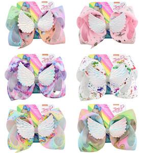 INS Unicorn Siwa cheveux Bows Angel Wings Hairpin Bébés filles Boutique cheveux clip imprimé floral bowknot enfants Hairclip Accessoires Barrette cheveux