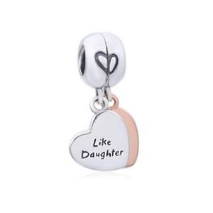 Nouveau authentique argent 925 Charm en or rose Mother And Daughter amour Pendentif coeur perles Fit Bangle Bracelet européen Bijoux Diy