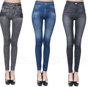 Pantaloni donne imitazione Jean Skinny Jeggings classico di modo elastico Slim scarni delle ghette Formato più bassi pantaloni KKA7878