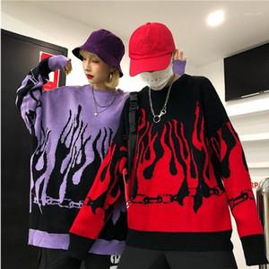 Couple Pull Harajuku Hip Hop Flame Pulls feu Knit 2019Autumn hiver homme Femmes Tenues en vrac Pull Tops Fashion Unisex1