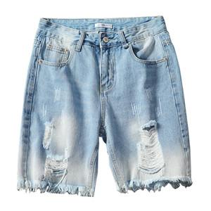 MORUANCLE moda de los hombres pantalones vaqueros rasgados cortos apenada pantalones cortos de mezclilla para el hombre más el tamaño M-5XL lavados cortos azul destruye con agujeros