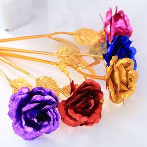 24K Golden Rose 50pcs Artificial Lange Stamm-Blume 25cm kreatives Geschenk für Liebhaber Hochzeit Weihnachten überzog 24K Goldfolie Rose Romantische Geschenke